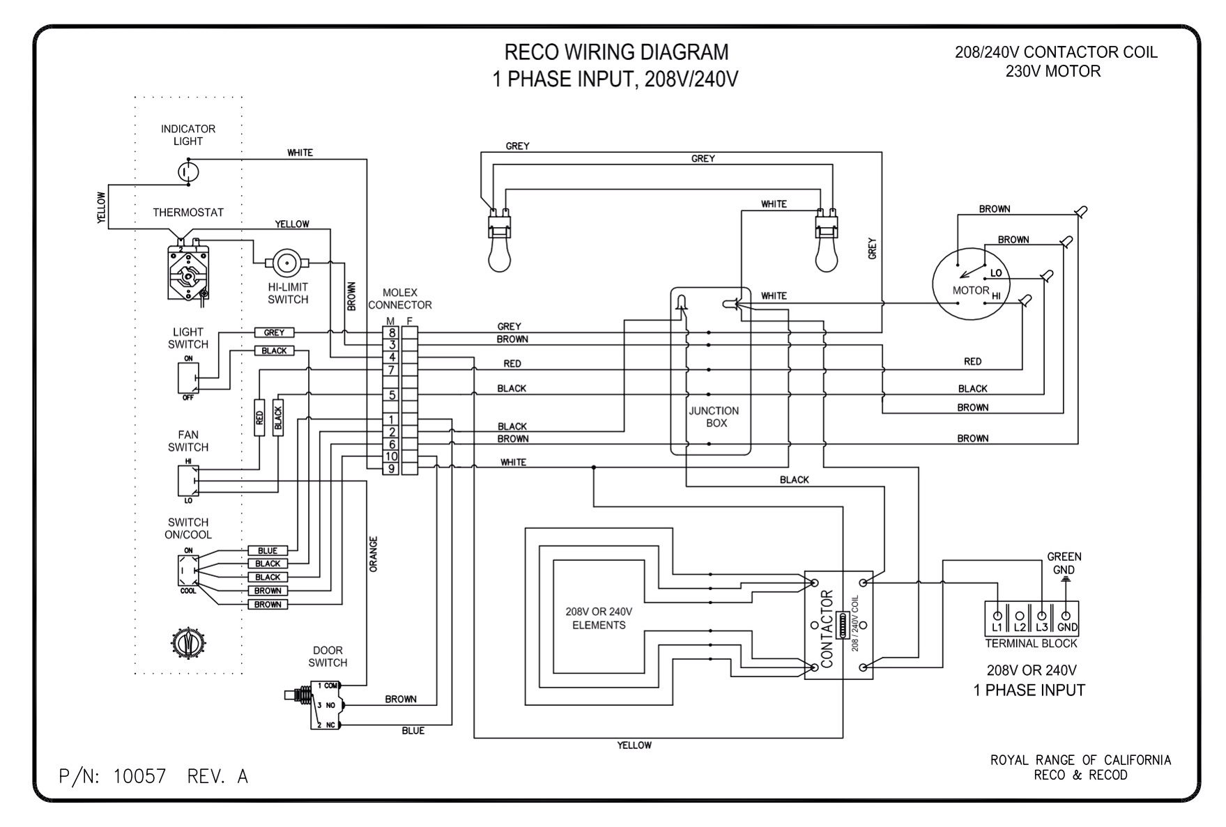 wiring diagrams royal range of california rh royalranges com waring convection oven wiring diagrams vulcan convection oven wiring diagram