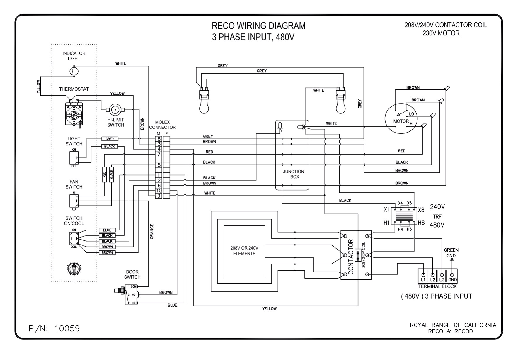 wiring diagrams royal range of california rh royalranges com 208 Volt Lighting Wiring Diagram 120 208 Volt Wiring Diagram