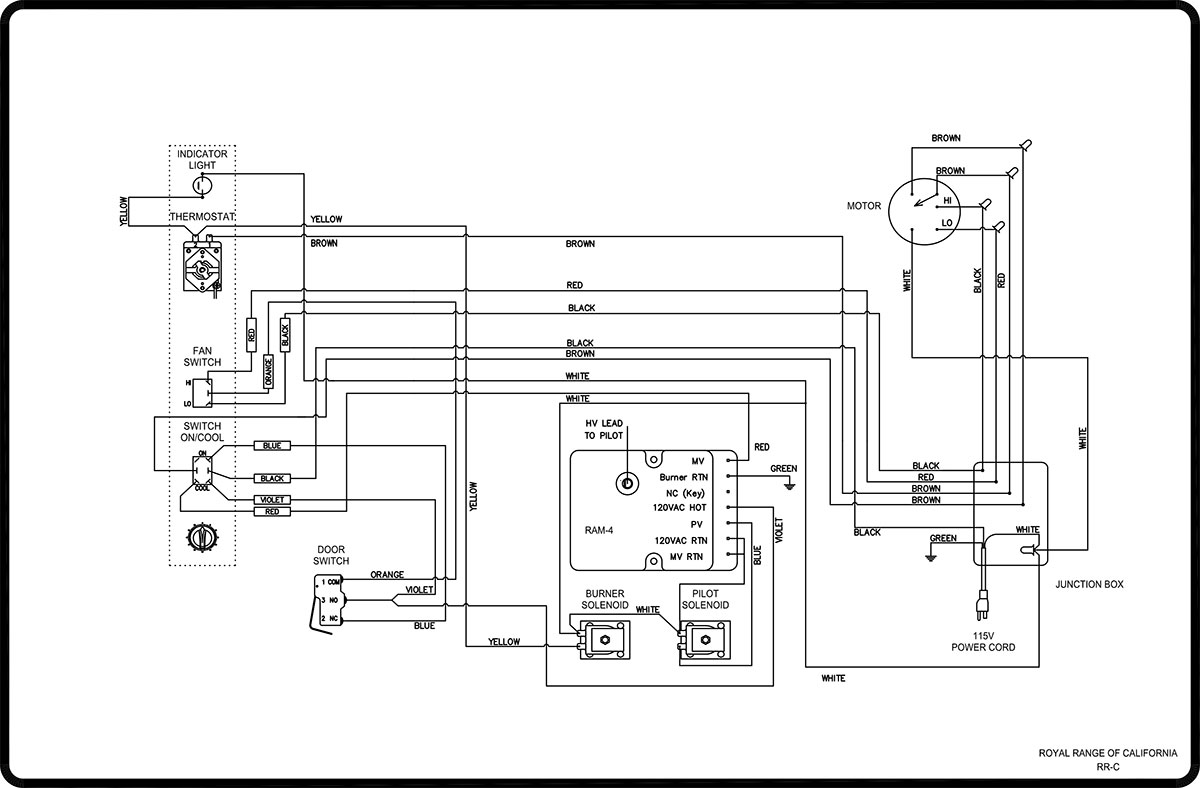 wiring diagrams royal range of california rh royalranges com 208 Volt Lighting Wiring Diagram 240 Volt Switch Wiring Diagram